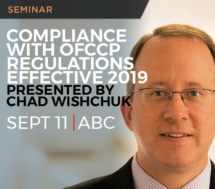Image of promotional banner for AGC seminar with Chad Wishchuk titled Compliance With OFCCP Regulations Regarding Individuals With Disabilities.