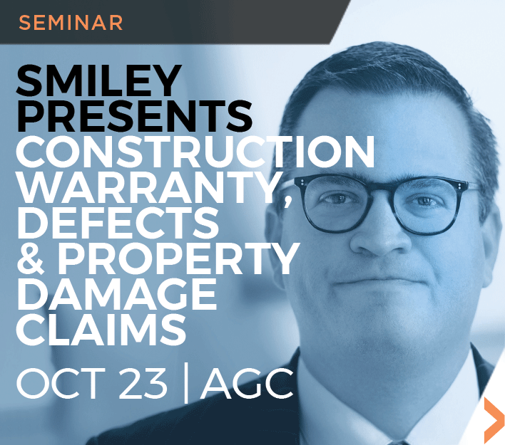 Image of David W. Smiley Construction Law seminar at AGC-SD on Oct 23, 2018.