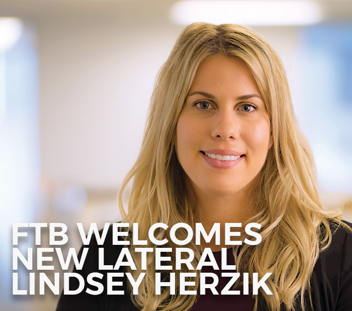Image of banner announcing new lateral attorney Lindsey C. Herzik joining Finch, Thornton & Baird, LLP.