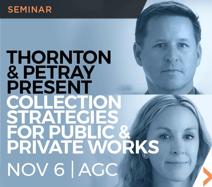 Image of Jason Thornton and Andrea Petray Construction Law seminar at AGC-SD on Nov 6, 2018.