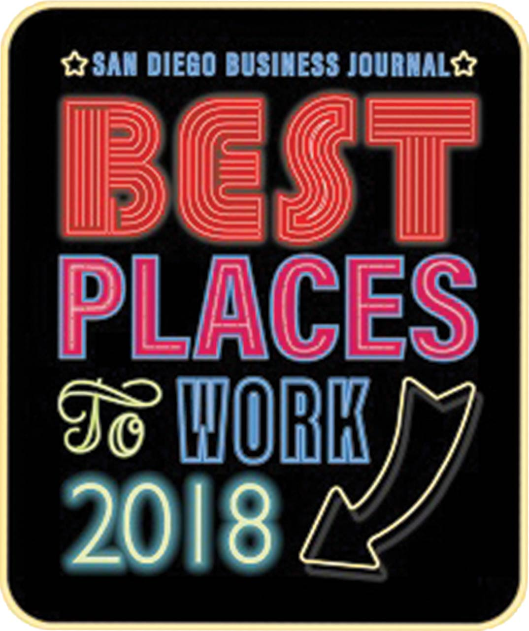 Image of the San Diego Business Journal's 2018 Best Places To Work logo.