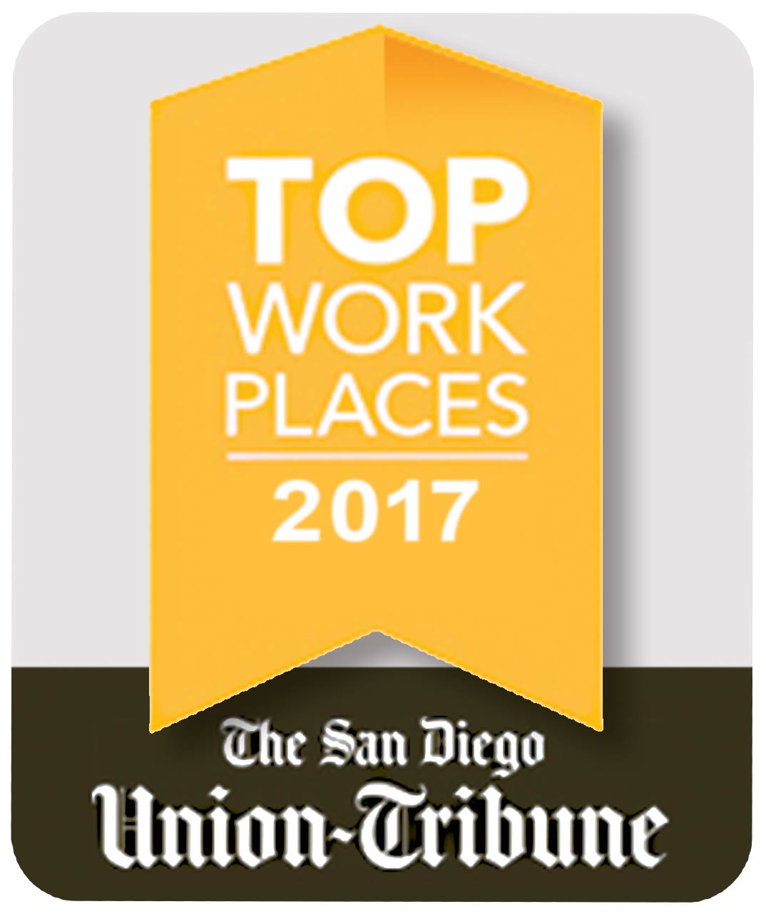 Image of The San Diego Union Tribune 2017 Top Work Places logo.