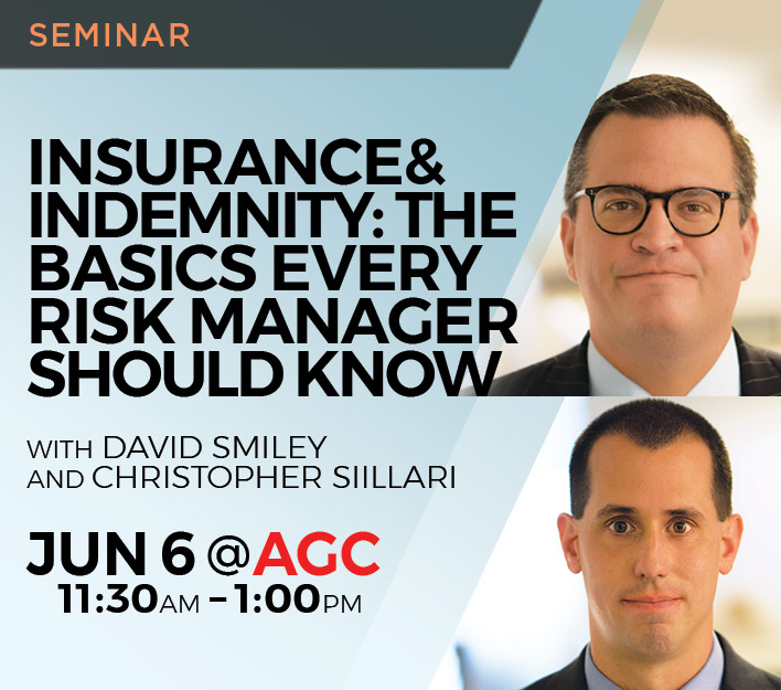 "Image promoting ""Insurance and Indemnity: The Basics"" seminar presented by Finch, Thornton & Baird, LLP."